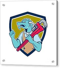 Dragon Plumber Monkey Wrench Fist Pump Shield Acrylic Print by Aloysius Patrimonio