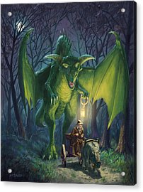 Acrylic Print featuring the digital art Dragon Walking With Lamp Fantasy by Martin Davey