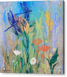 Dragonflies In Wild Garden Acrylic Print