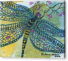 Dragonfly And Cherry Blossoms Acrylic Print by Susan Kubes