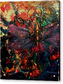 Dragonfly And Fishing Lures Acrylic Print by Penfield Hondros