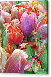 Acrylic Print featuring the mixed media Dragonfly And Tulips 2 by Carol Cavalaris