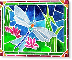 Dragonfly And Water Lilies In Stained Glass 2 Acrylic Print by Janis Grau