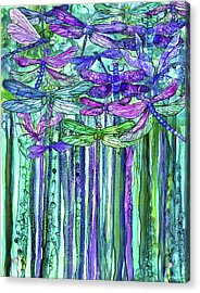Acrylic Print featuring the mixed media Dragonfly Bloomies 1 - Purple by Carol Cavalaris