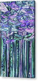 Acrylic Print featuring the mixed media Dragonfly Bloomies 2 - Lavender Teal by Carol Cavalaris