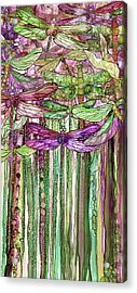Acrylic Print featuring the mixed media Dragonfly Bloomies 2 - Pink by Carol Cavalaris