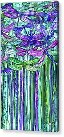 Acrylic Print featuring the mixed media Dragonfly Bloomies 2 - Purple by Carol Cavalaris