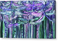 Acrylic Print featuring the mixed media Dragonfly Bloomies 3 - Lavender Teal by Carol Cavalaris