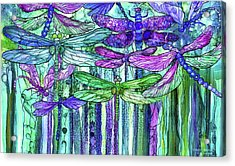 Acrylic Print featuring the mixed media Dragonfly Bloomies 3 - Purple by Carol Cavalaris