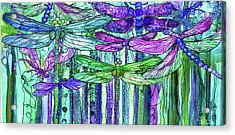 Acrylic Print featuring the mixed media Dragonfly Bloomies 4 - Purple by Carol Cavalaris