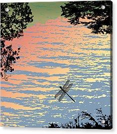 Dragonfly By The Lake Acrylic Print by Marian Federspiel