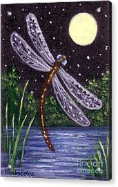 Acrylic Print featuring the painting Dragonfly Dreaming by Sandra Estes