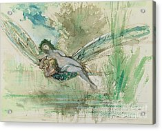 Dragonfly Acrylic Print by Gustave Moreau