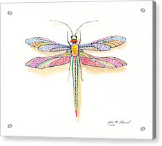 Acrylic Print featuring the painting Dragonfly by John Norman Stewart