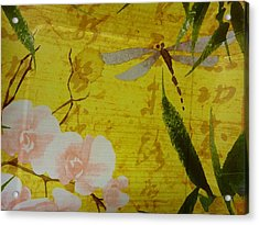 Dragonfly N Roses Acrylic Print