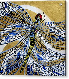 Dragonfly On Gold Scarf Acrylic Print by Susan Kubes