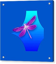 Dragonfly Pink On Blue Acrylic Print
