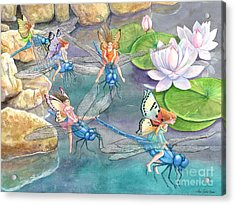Dragonfly Races Acrylic Print by Ann Gates Fiser