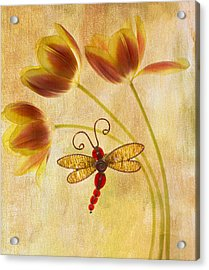 Dragonfly Tulips Acrylic Print by Rebecca Cozart
