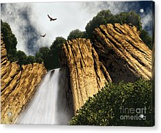 Acrylic Print featuring the digital art Dragons Den Canyon by Richard Rizzo