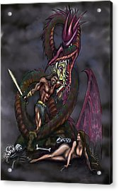 Acrylic Print featuring the painting Dragonslayer by Kevin Middleton