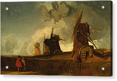Drainage Mills In The Fens, Croyland, Lincolnshire Acrylic Print by John Sell Cotman