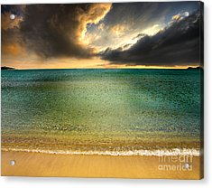 Drama At The Beach Acrylic Print by Meirion Matthias