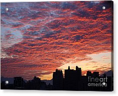 Acrylic Print featuring the photograph Dramatic City Sunrise by Yali Shi