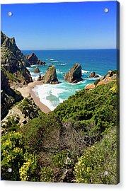 Dramatic Coastline And Beach - Portugal Acrylic Print by Connie Sue White