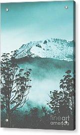 Dramatic Dark Blue Mountain With Snow And Fog Acrylic Print