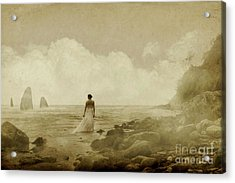 Dramatic Seascape And Woman Acrylic Print