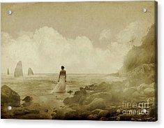 Dramatic Seascape And Woman Acrylic Print