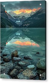 Acrylic Print featuring the photograph Dramatic Sunrise At Lake Louise by Pierre Leclerc Photography