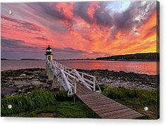 Dramatic Sunset At Marshall Point Lighthouse Acrylic Print
