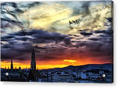 Dramatic Sunset Clouds Over Vienna Acrylic Print