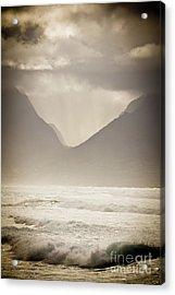Dramatic Sunset On Maui Hawaii Iao Valley Acrylic Print by Denis Dore
