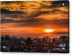 Dramatic Sunset Over Sofia Acrylic Print