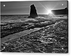 Dramatic View Of A Sea Stack In Davenport Beach, Santa Cruz. Acrylic Print