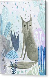 Dramatic Wolf In The Rain Acrylic Print by Kate Cosgrove
