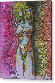 Drawing Of A Woman Acrylic Print by B and C Art Shop