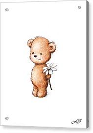 Drawing Of Teddy Bear With Daisy Acrylic Print by Anna Abramska