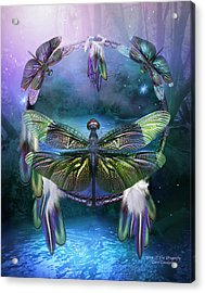 Dream Catcher - Spirit Of The Dragonfly Acrylic Print by Carol Cavalaris