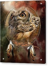 Acrylic Print featuring the mixed media Dream Catcher - Spirit Of The Owl by Carol Cavalaris