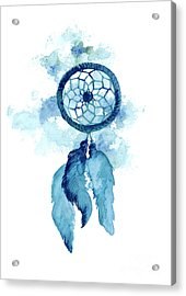 Dream Catcher Watercolor Art Print Painting Acrylic Print by Joanna Szmerdt