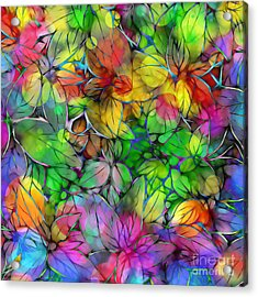 Acrylic Print featuring the digital art Dream Colored Leaves by Klara Acel