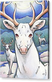 Dream Of The White Stag Acrylic Print by Amy S Turner