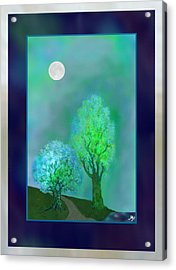 Dream Trees At Twilight With Borders Acrylic Print by Mathilde Vhargon