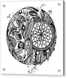 Dreamcatcher Circle Drawing No. 1 Acrylic Print by Kenal Louis