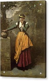 Dreamer At The Fountain Acrylic Print by Jean Baptiste Camille Corot