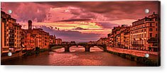 Dreamlike Sunset From Ponte Vecchio Acrylic Print